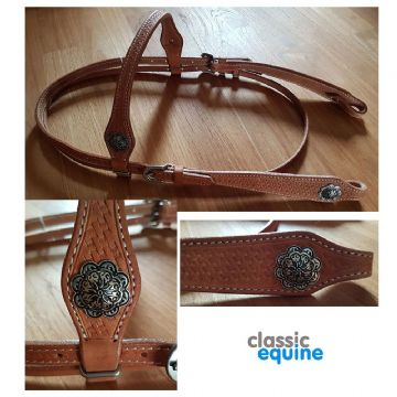 Headstall - Straight Brow with Basket Weave Tooling & Conchos